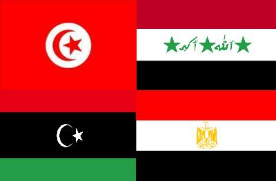 The Flags (clockwise top left) of Tunisia, Iraq, Egypt, and Libya