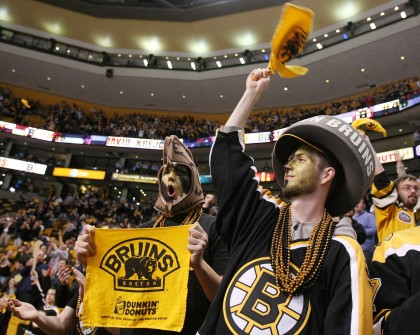 Die-hard Bruins fans cheer loudly in the Garden.