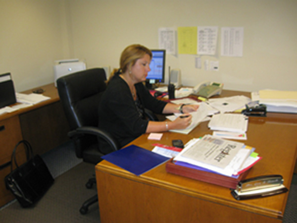 New Principle Lisa Nemeth working in her office.