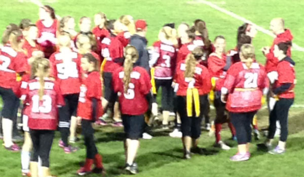 Seniors prepping for the Powderpuff game.