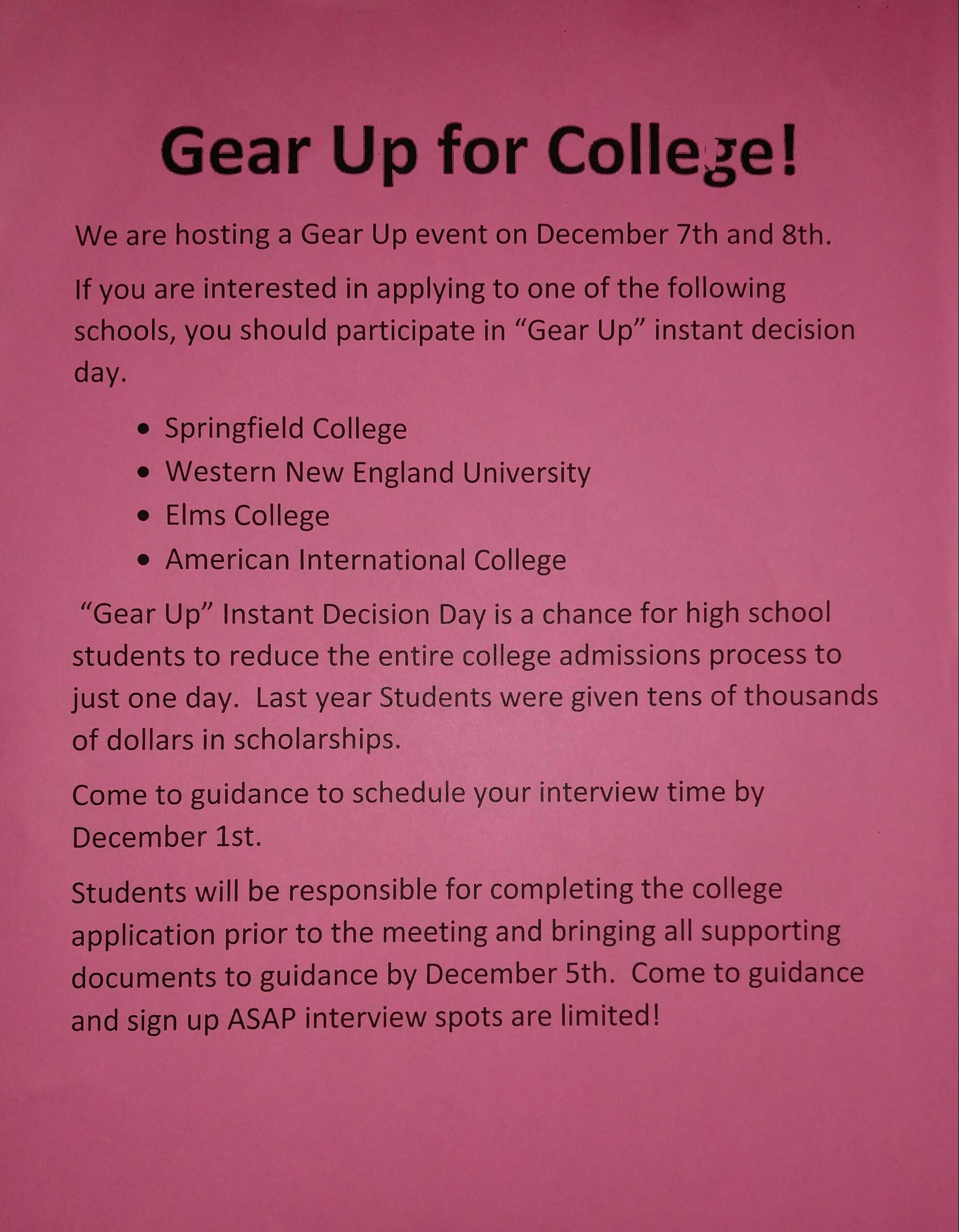 Upcoming Gear Up Day reduces stress for seniors