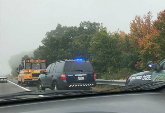 State police investigate a minor accident involving a CTEC bus on the Mass Pike early Wednesday morning.