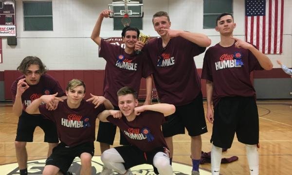 From left to right: sophomore Tyler Sternowski, junior Dylan Beddow, junior TJ. Alves (bottom), junior Dakota Smith, senior Zachary Chipman, and senior Nick Devine.