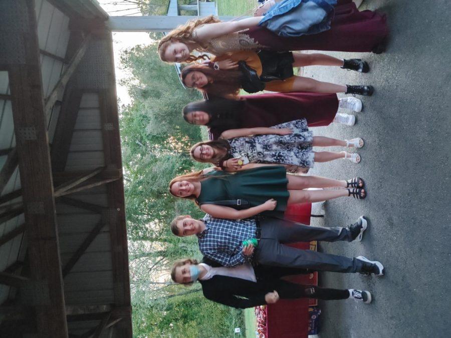 Left to right: sophomores Lucas Gonsalves, Theryn Pelletier, Allison  Kehoe, Natalie Miner, Khruanha Naiyanan, Quentin Kopek, and Elizabeth  Richter